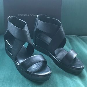 French Connection Pelle Leather Wedge Sandals